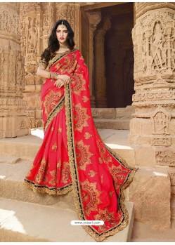Crimson Latest Embroidered Designer Wedding Sari