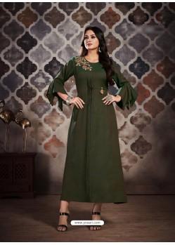 Partywear Designer Mehendi Two Tone Rayon Fancy Kurti