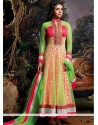 Asin Green And Pink Cotton Anarkali Suit