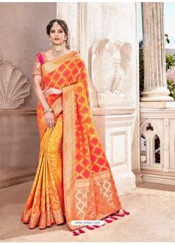 Orange Heavy Banarasi Silk Wedding Sari