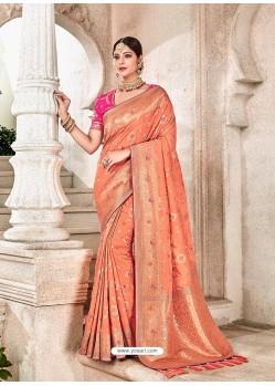 Light Orange Heavy Banarasi Silk Wedding Sari