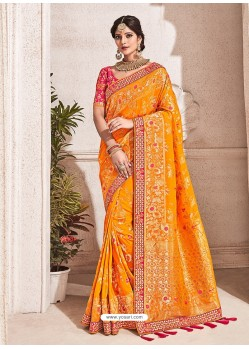 Orange Heavy Banarasi Silk Wedding Sari