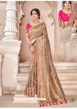 Beige Heavy Banarasi Silk Wedding Sari