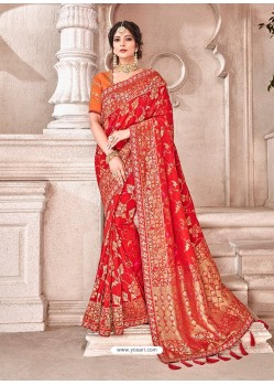 Red Heavy Banarasi Silk Wedding Sari