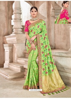Green Heavy Banarasi Silk Wedding Sari