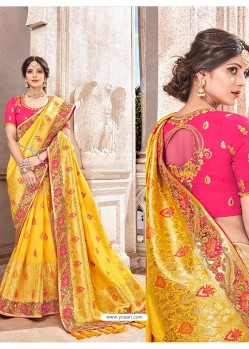 Yellow Heavy Banarasi Silk Wedding Sari