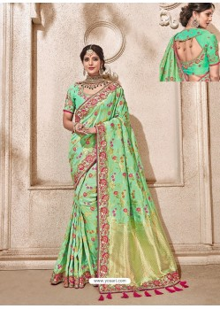 Sea Green Heavy Banarasi Silk Wedding Sari