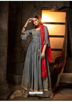 Grey Embroidered Designer Anarkali Suit