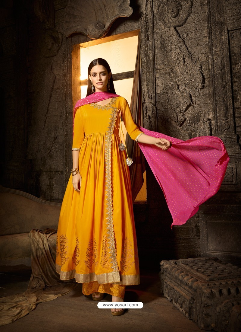 Yellow Embroidered Designer Anarkali Suit