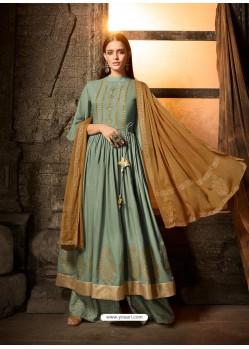 Aqua Grey Embroidered Designer Anarkali Suit