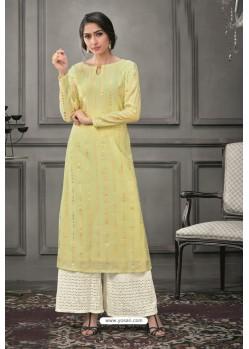 Lemon Designer Munga Silk Palazzo Salwar Suit