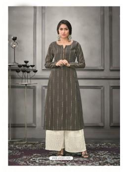Grey Designer Munga Silk Palazzo Salwar Suit
