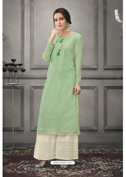 Sea Green Designer Munga Silk Palazzo Salwar Suit