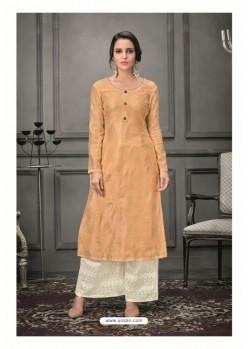 Light Orange Designer Munga Silk Palazzo Salwar Suit