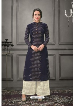Navy Blue Designer Munga Silk Palazzo Salwar Suit