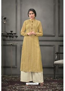 Khaki Designer Munga Silk Palazzo Salwar Suit