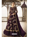 Purple Heavy Embroidered Front Cut Designer Anarkali Suit