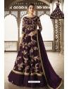 Purple Heavy Embroidered Front Cut Designer Anarkali Suit