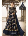 Peacock Blue Heavy Embroidered Front Cut Designer Anarkali Suit