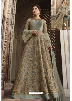 Light Grey Heavy Embroidered Front Cut Designer Anarkali Suit