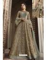 Light Grey Heavy Embroidered Front Cut Designer Anarkali Suit