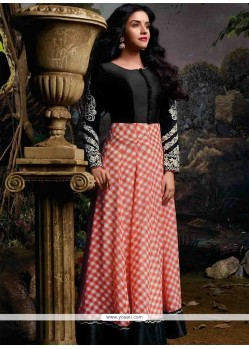 Asin Black And Peach Georgette Anarkali Suit