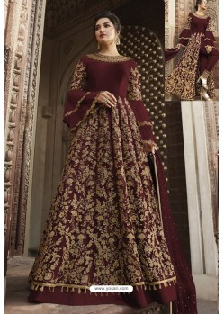 Maroon Heavy Embroidered Front Cut Designer Anarkali Suit