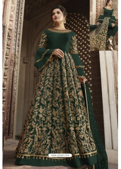 Dark Green Heavy Embroidered Front Cut Designer Anarkali Suit