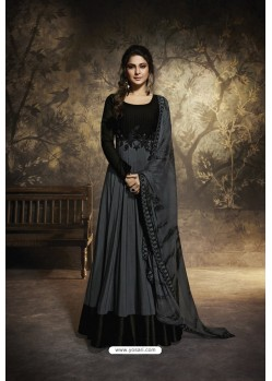 Black Heavy Embroidered Gown Style Designer Anarkali Suit