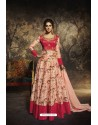 Peach Heavy Embroidered Gown Style Designer Anarkali Suit