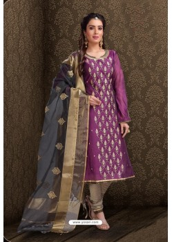 Purple Embroidered Designer Chanderi Silk Churidar Salwar Suit