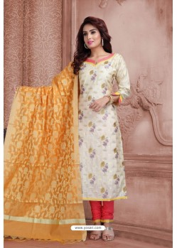Off White Embroidered Designer Party Wear Churidar Salwar Suit