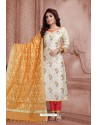 Off White Embroidered Designer Party Wear Churidar Salwar Suit