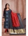 Teal Blue Embroidered Designer Party Wear Churidar Salwar Suit
