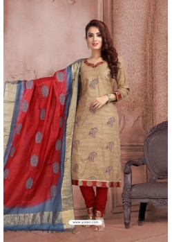 Beige Embroidered Designer Party Wear Churidar Salwar Suit