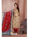 Beige Embroidered Designer Party Wear Churidar Salwar Suit
