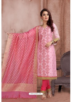 Pink Embroidered Designer Party Wear Churidar Salwar Suit