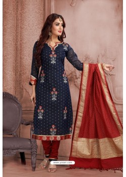 Navy Blue Embroidered Designer Party Wear Churidar Salwar Suit