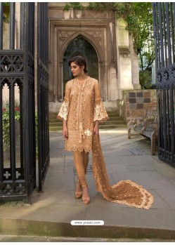 Camel Heavy Embroidered Designer Palazzo Suit