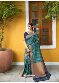 Navy Blue Designer Party Wear Silk Blend Sari