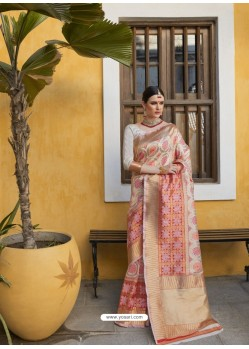 Cream Designer Party Wear Silk Blend Sari