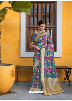 Teal Designer Party Wear Silk Blend Sari