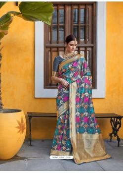 Teal Designer Party Wear Silk Blend Sari
