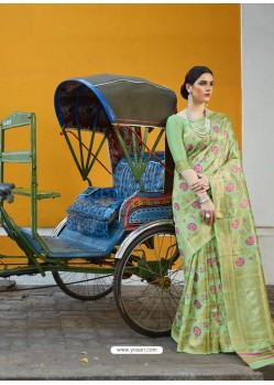 Green Designer Party Wear Silk Blend Sari