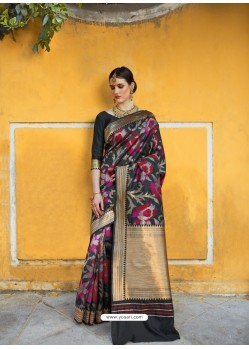 Black Designer Party Wear Silk Blend Sari