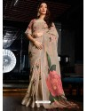 Light Beige Designer Casual Wear Cotton Linen Sari