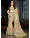 Olive Green Designer Casual Wear Cotton Linen Sari