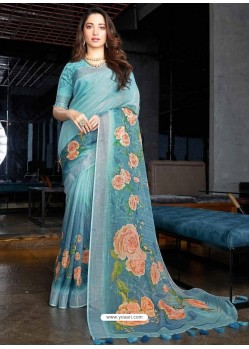 Turquoise Designer Casual Wear Cotton Linen Sari