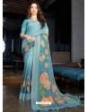 Turquoise Designer Casual Wear Cotton Linen Sari