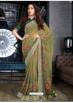 Mehendi Designer Casual Wear Cotton Linen Sari